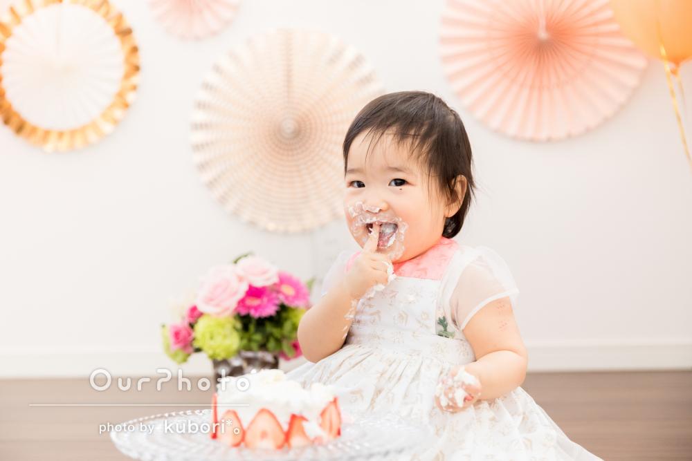 ドレスアップでまるでお姫様!バルーンがオシャレな1歳バースデーの撮影