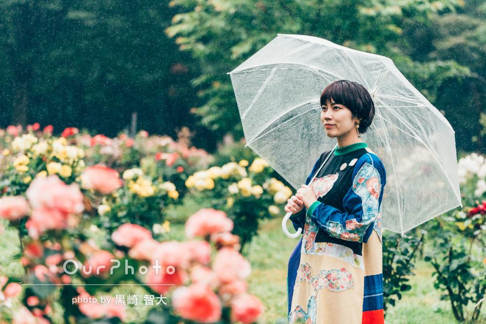 季節の花が色鮮やか!雨を味方にしてお洒落なプロフィール写真の撮影