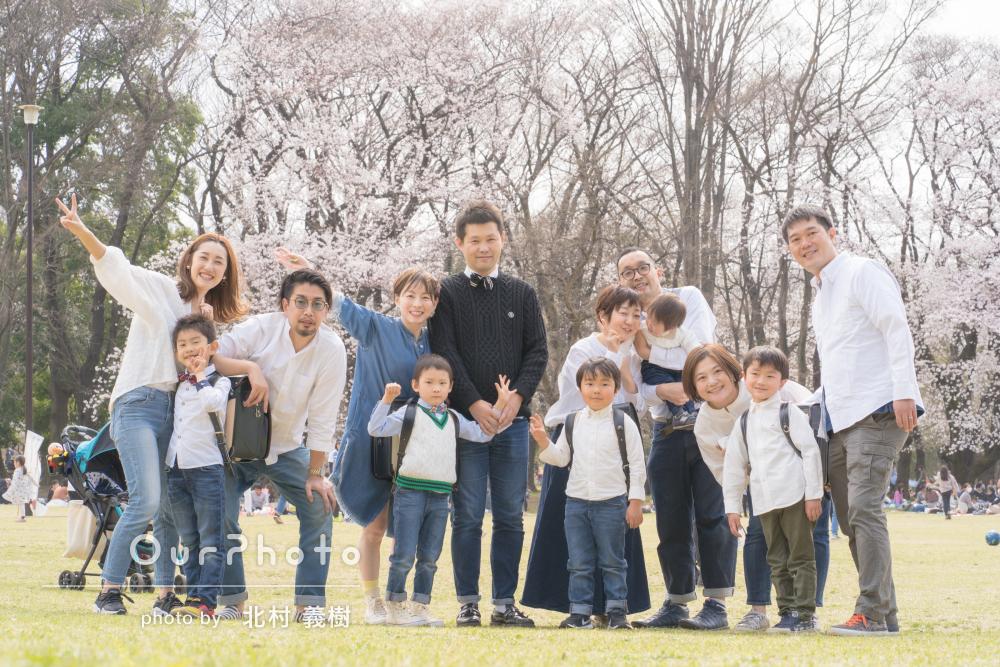 「4家族での写真撮影でしたが全家族大満足」入学のお祝い撮影