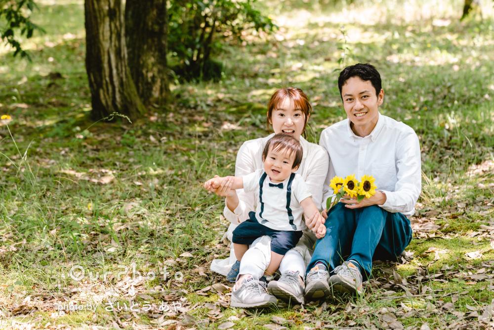 「楽しく撮影ができよき思い出になりました」にこにこ笑顔で家族写真撮影