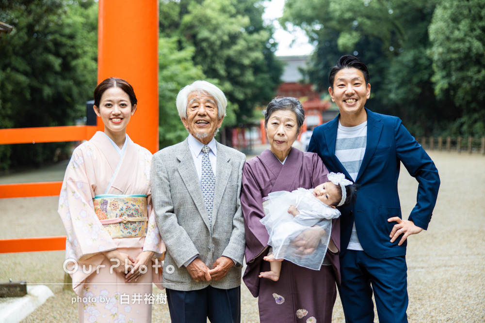 「将来娘と一緒に見返したい」家族の柔らかい笑顔が素敵なお宮参りの撮影