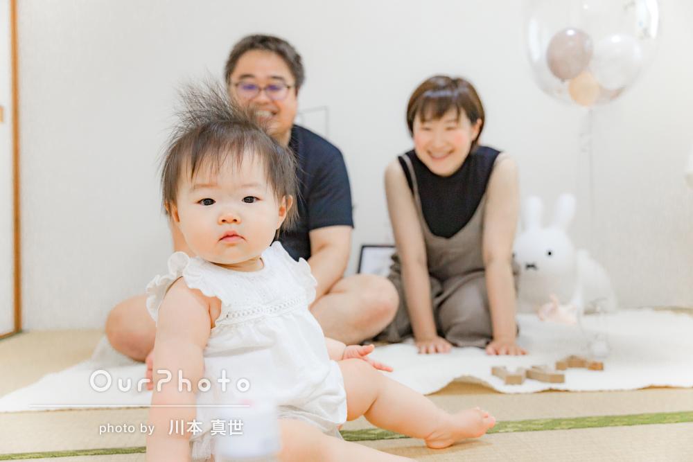 「ふんわりと優しい感じの雰囲気で」バースデー記念の家族写真の撮影