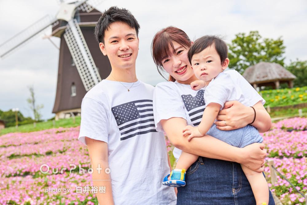 「対応も良く気持ちよく」おそろいのTシャツで楽しく家族写真の撮影