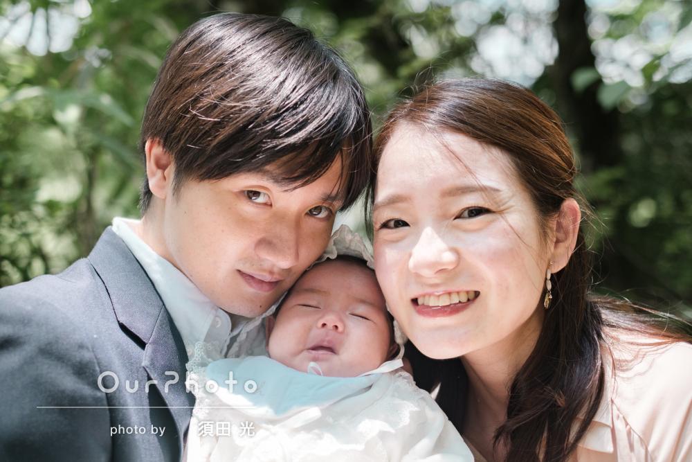 「初めての家族写真として思い出に残る撮影」お宮参りの撮影