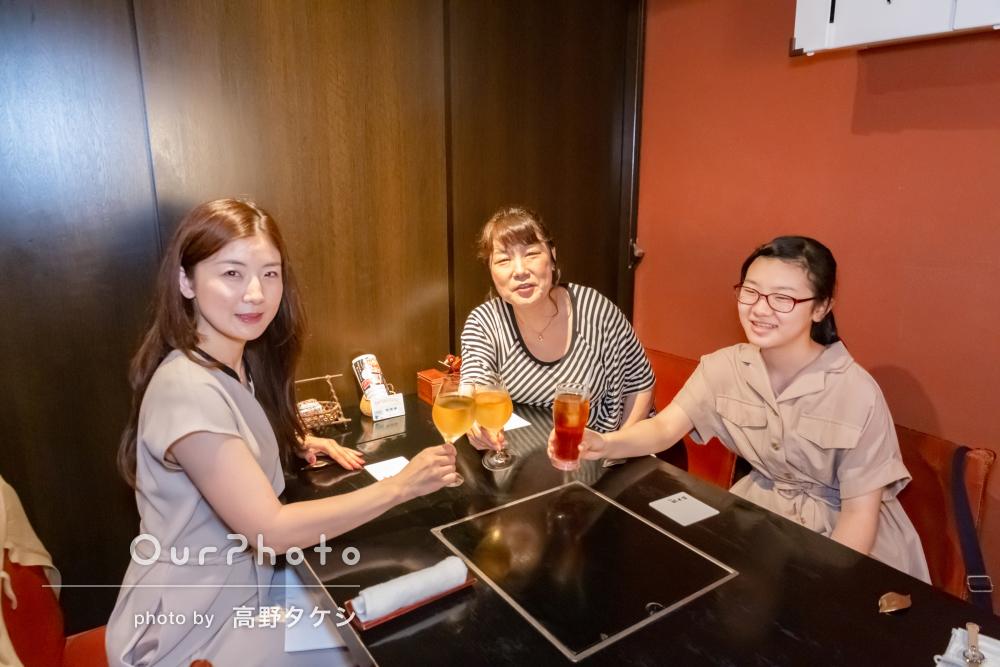 「今回も記憶に残る写真を撮っていただき満足」家族での食事会撮影