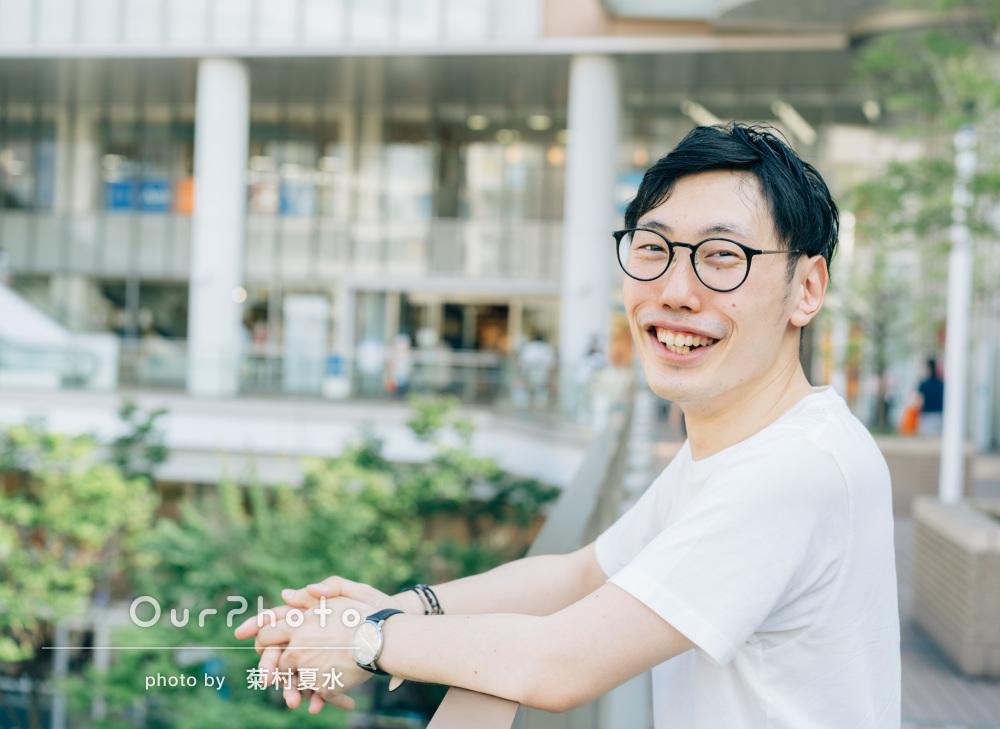 「緊張が少しずつ解け自然な笑顔」男性プロフィール写真の撮影