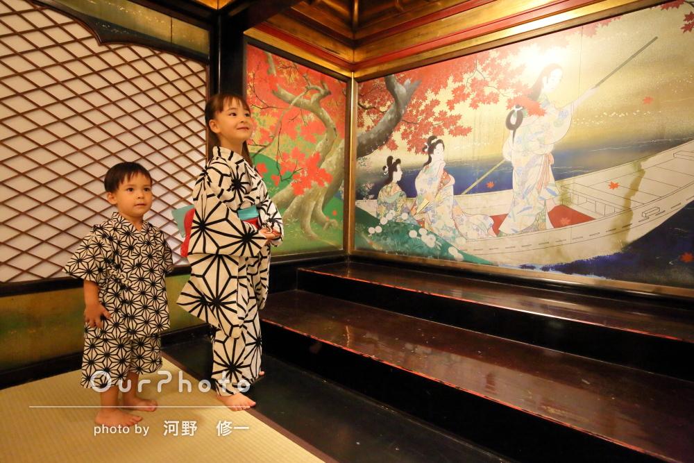 「光がとてもきれい」モダンな浴衣も良くお似合い!家族写真の撮影