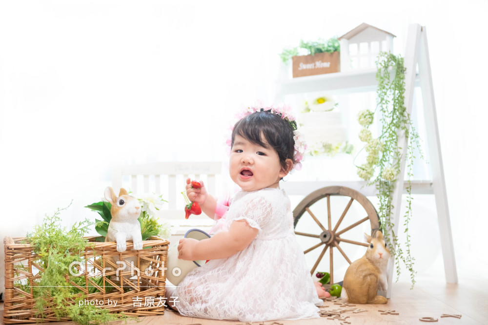 「自宅とは思えないような素敵な写真」1歳のお誕生日記念の写真撮影
