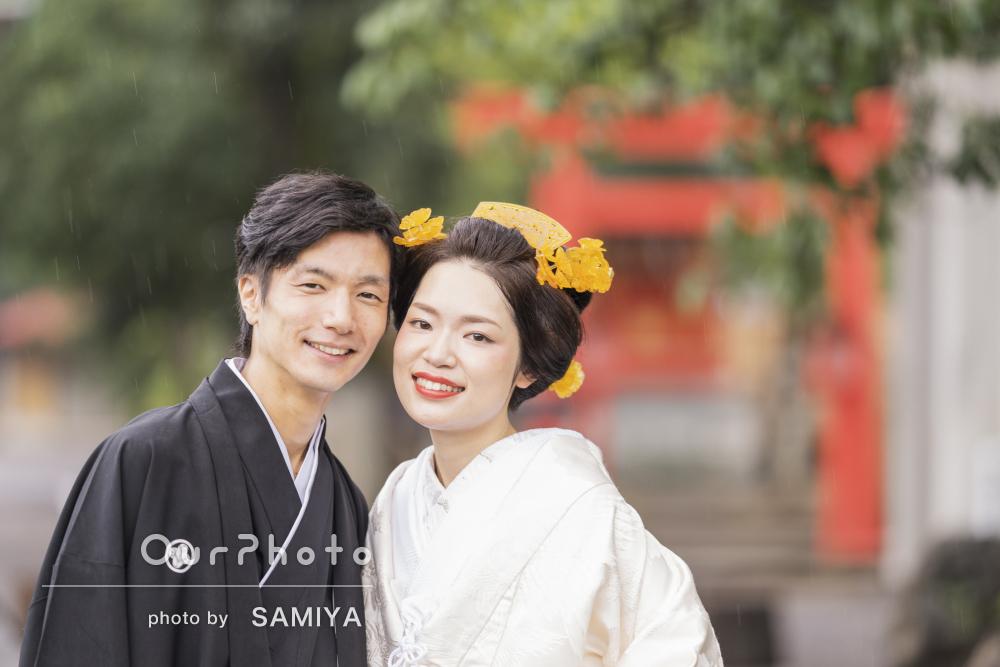 朱色の鳥居に白無垢が映える!美しくすっきりとした印象の結婚式の撮影