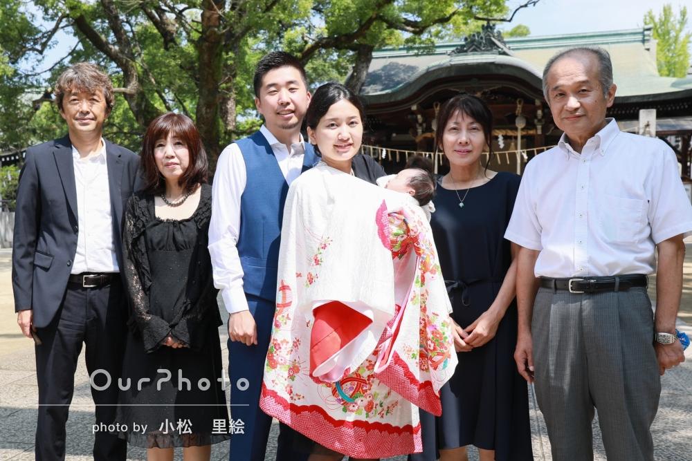 「良い人が来てくれてよかったと家族も大変喜んでおりました。 写真もすごく満足しています!」神社でのお宮参りの撮影