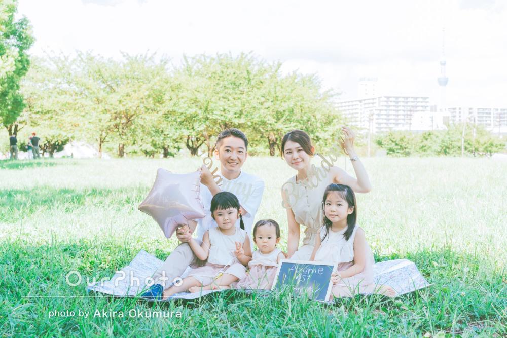 「お洒落で素敵な写真を撮っていただけ」可愛らしい三姉妹と家族写真撮影