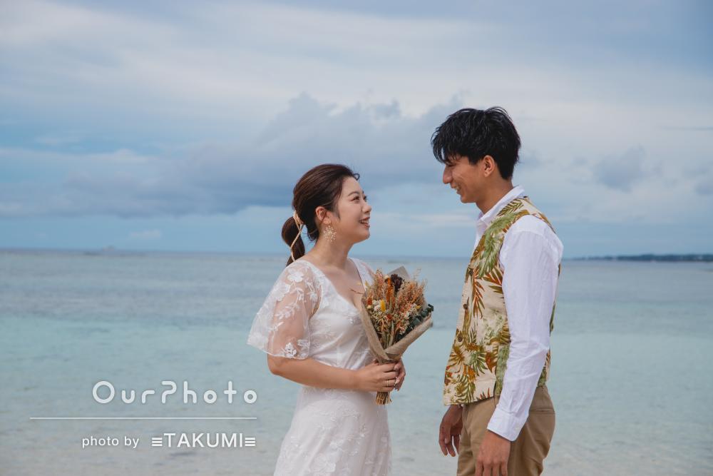 「いい思い出になりました」沖縄のビーチで美しいカップルフォトの撮影