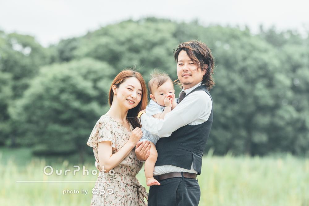 「家族の大切な思い出となりました」誕生日に公園で柔らかな家族写真撮影