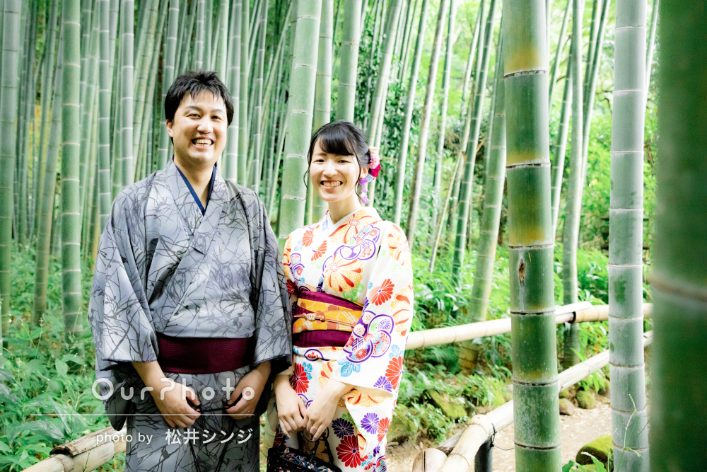 「お願いして大正解」結婚式の演出用に竹林にて着物のカップルフォト