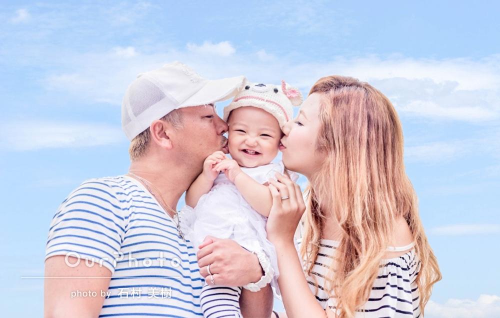 「私たちも緊張せず、娘も終始ニコニコで楽しく撮影してもらえました!」お誕生日記念の家族写真の撮影