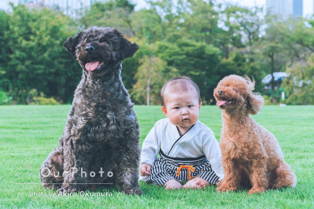 愛犬と一緒に!2種類の衣装を着て芝生の上でハーフバースデイ記念の撮影