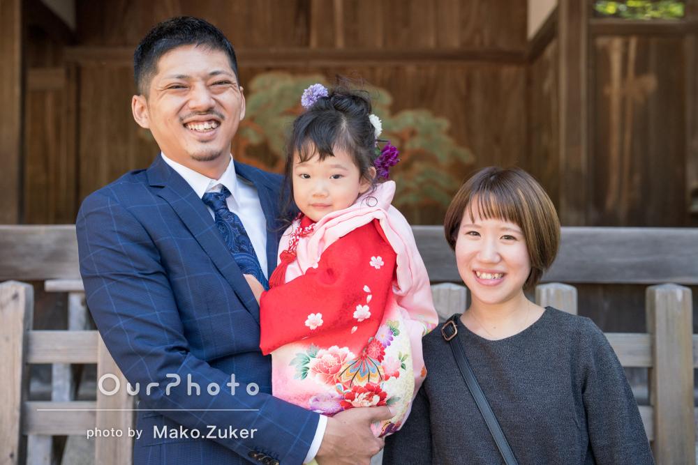 赤の着物がとってもお似合い!3歳女の子の七五三記念写真