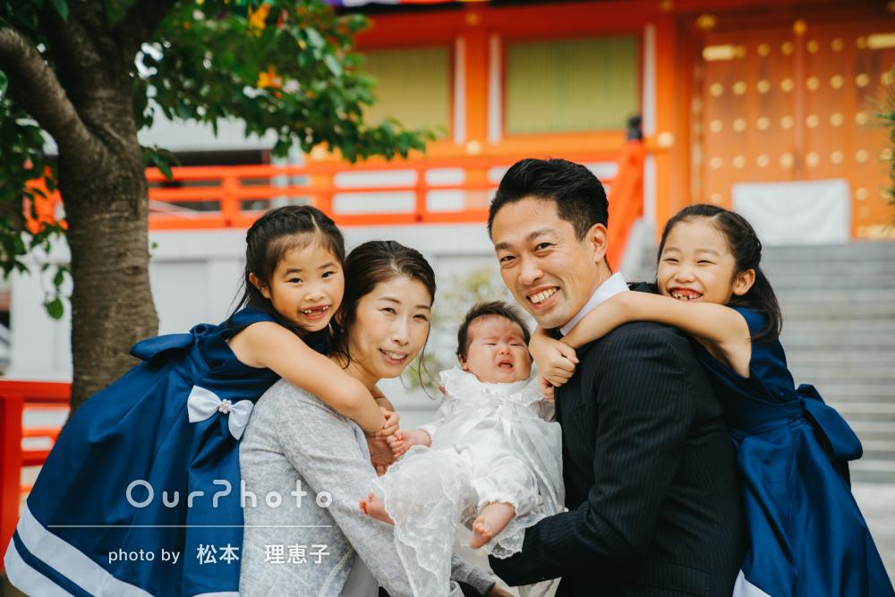 「さすがプロ!」三姉妹で華やか♡末っ子ちゃんのお宮参りの撮影