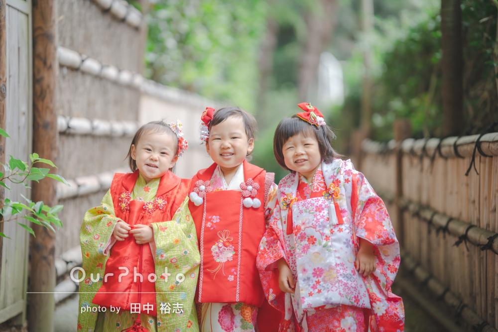みんなお姫様みたい!美しい日本庭園で可愛らしい3人組の七五三撮影