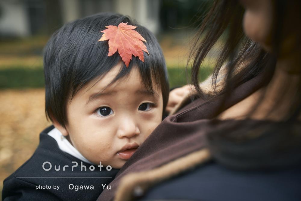 「自然な表情を撮ってもらい感謝です」1歳記念に秋の家族写真の撮影