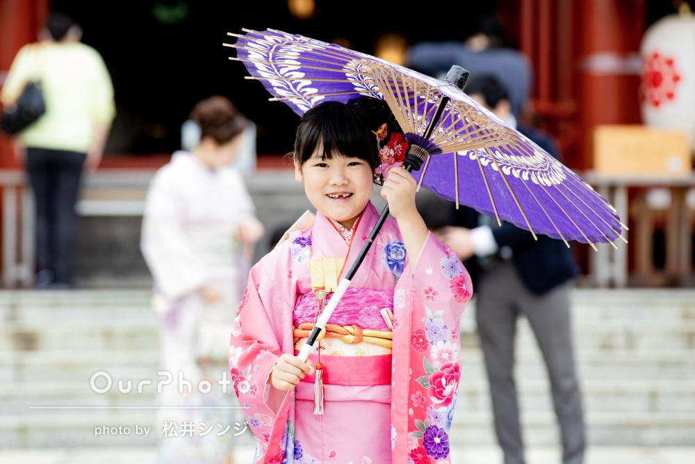 「自然な笑顔の写真が撮れ感激」ピンクの着物がお似合いな七五三の撮影