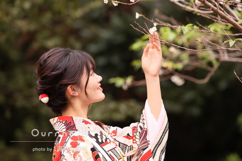 「十月桜の前で少し春らしい写真も撮って頂くことができ」家族写真の撮影