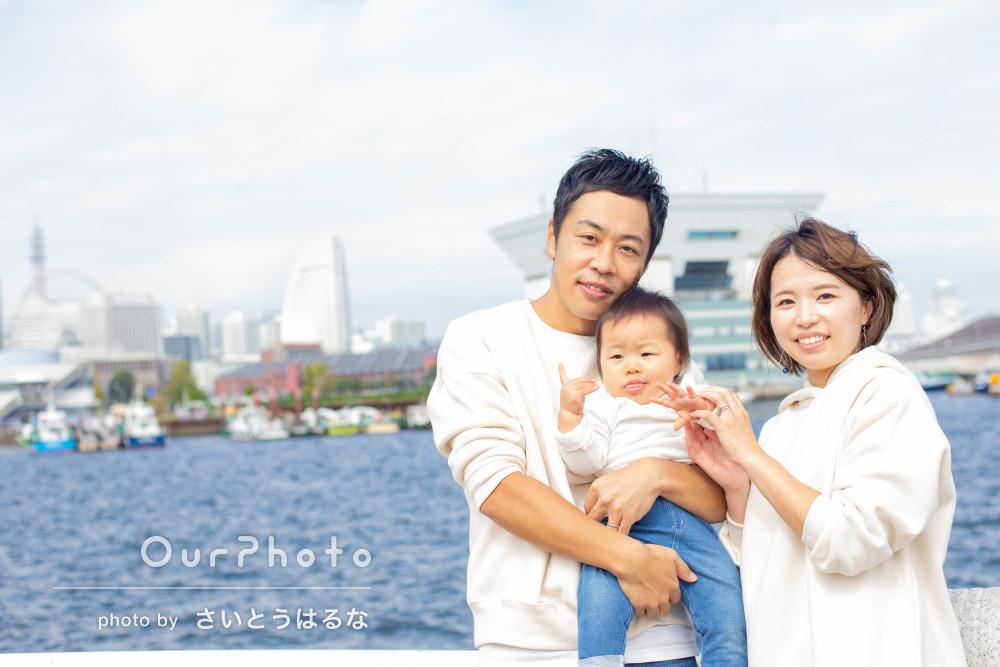 「天気にも恵まれ楽しい撮影が出来ました」白コーデで家族写真の撮影