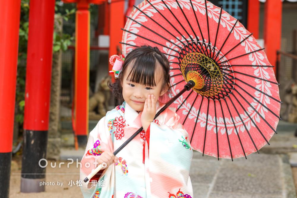 「最初は緊張していた娘も笑顔が増え」可愛らしい3歳の七五三詣りの撮影