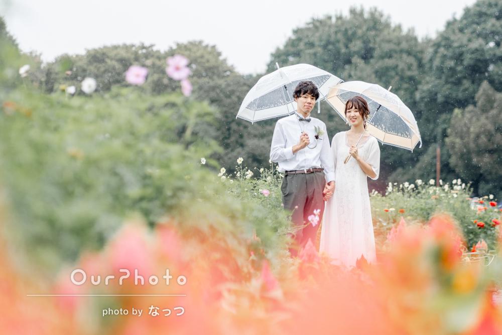「楽しみながら撮影をする事が出来ました」雨の中のカップルフォトの撮影