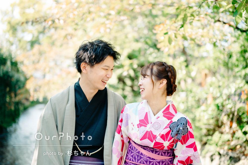 「産後初の夫婦旅行がより良いものに」京都で和装のカップルフォトの撮影