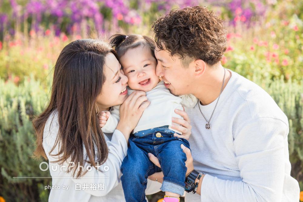 「自然な感じがありとても良かった」公園でリンクコーデの家族写真の撮影