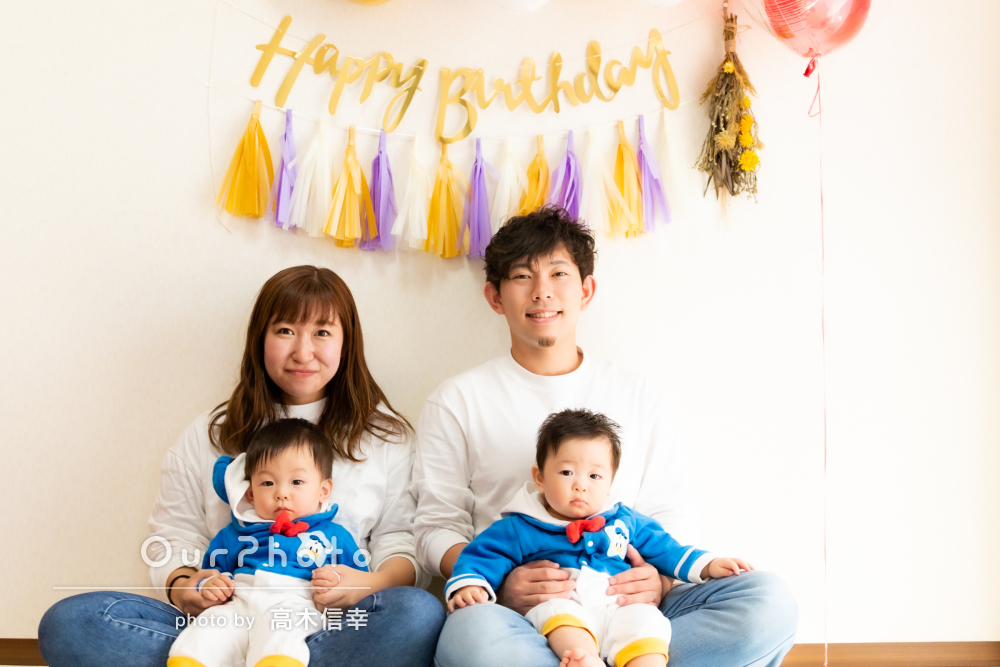 「また大切な宝物ができました」双子ちゃんの誕生日記念に家族写真の撮影