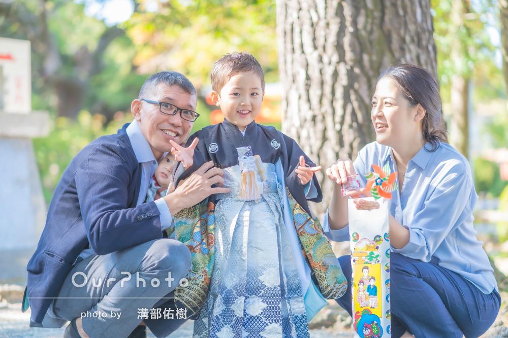 「 家族皆表情良く撮って頂き」5歳の男の子の七五三の撮影