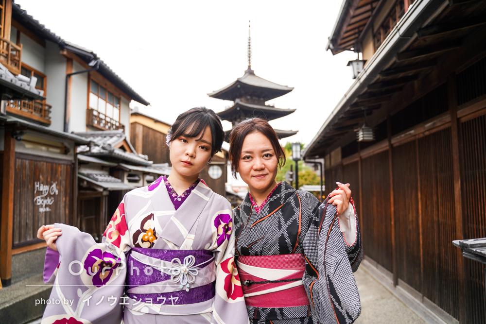 「楽しく撮影して頂きました!」京都にて母娘で着物を着て旅行写真の撮影