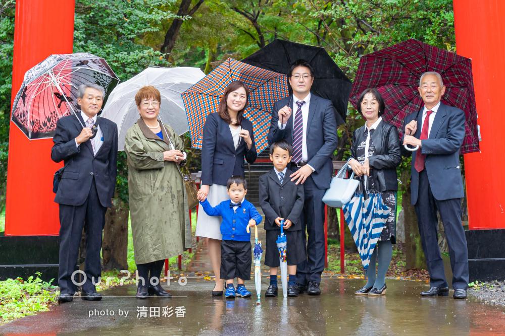 「笑顔が多く、記念になる写真」雨天を生かした色鮮やかな七五三の撮影