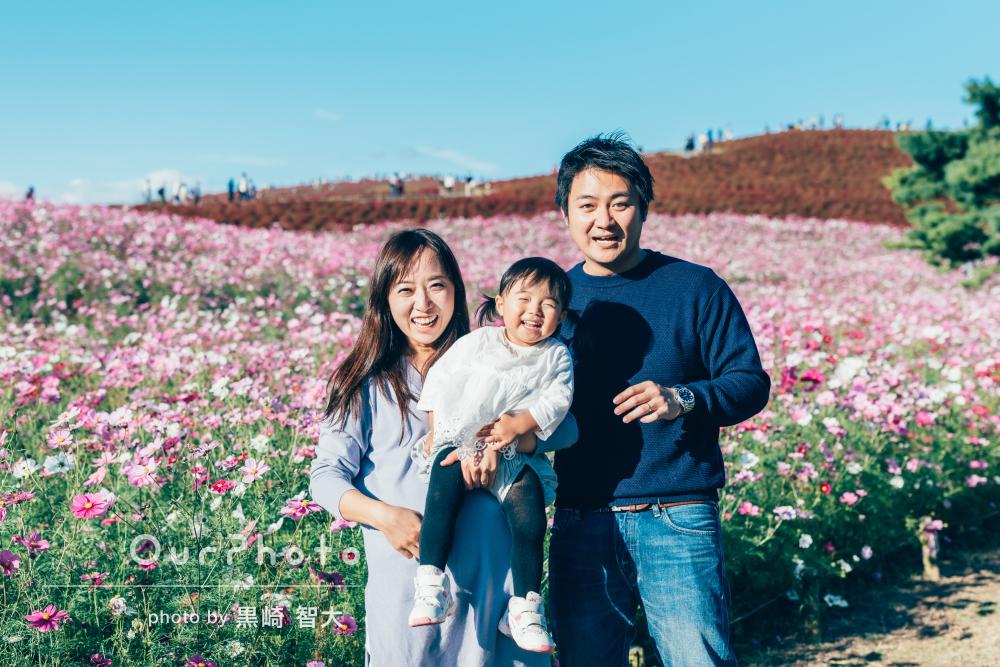 「娘はニコニコでとても楽しそうでした」美しい自然の中で家族写真の撮影