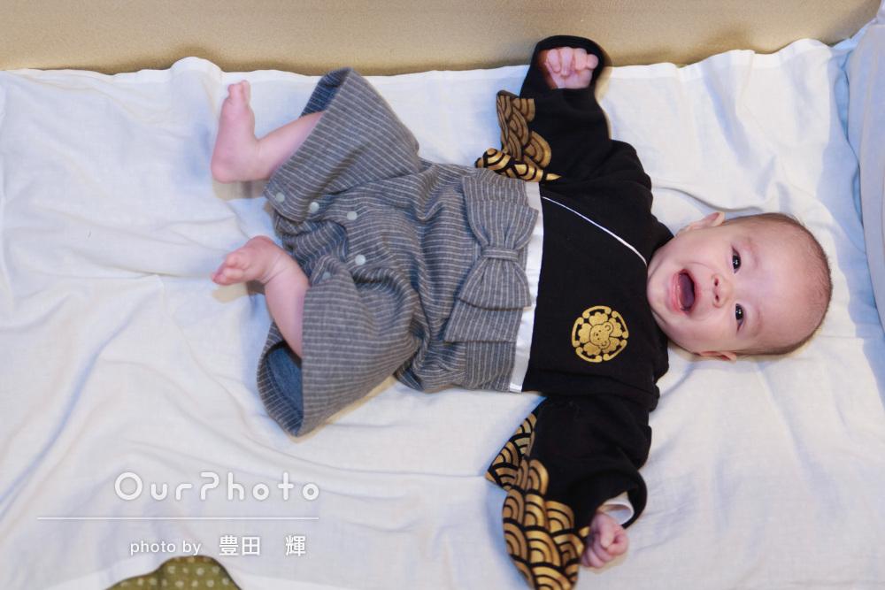 「楽しく撮影出来ました」羽織袴風ベビーウェアでお食い初めの撮影