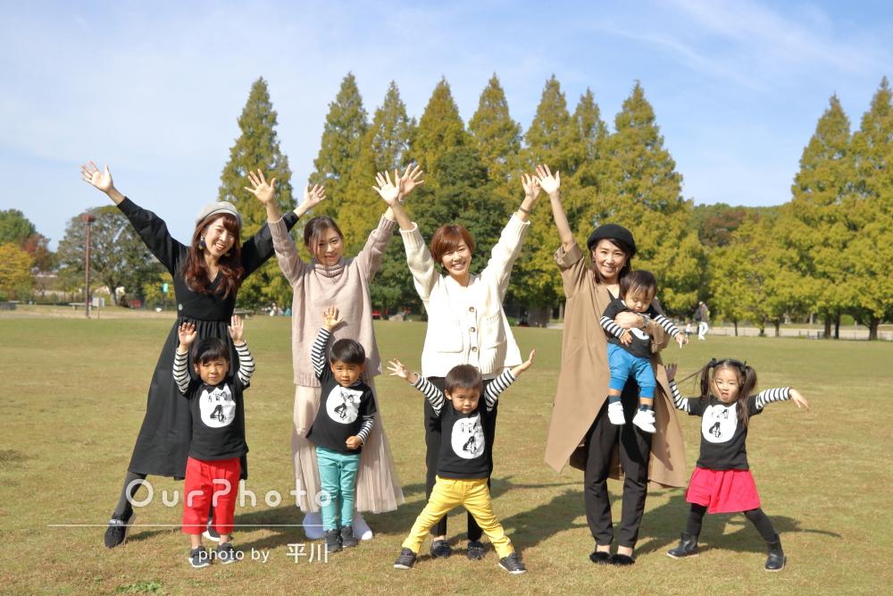 「4歳児4人の誕生日記念に」公園での明るく楽しい友フォトの撮影