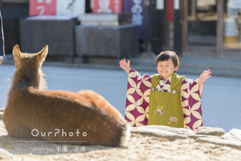 「子供もすぐ懐いて笑顔いっぱい」おしゃれな着物で3歳の七五三の撮影