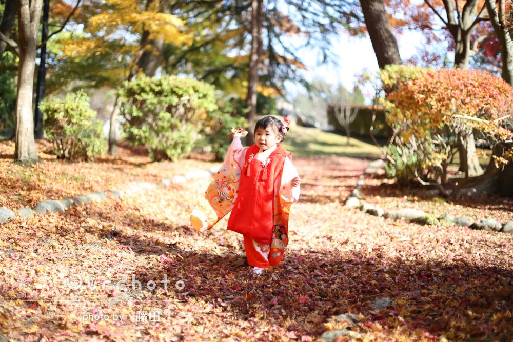 「季節感のある風景もバックに素敵な写真を」紅葉の中で3歳の七五三撮影