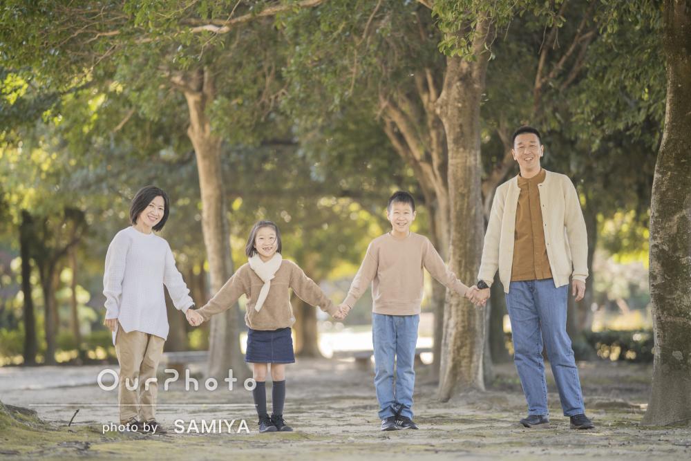 「子供たちにも上手にポーズを提案して下さり」秋を満喫!家族写真の撮影
