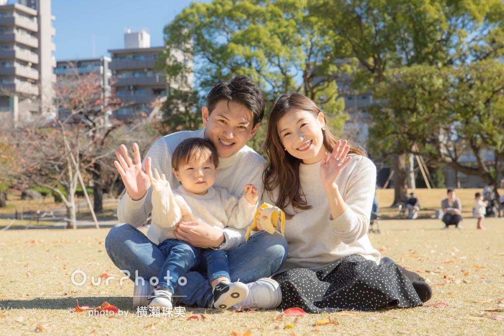 「撮影時間はとても楽しかったです」おそろいコーデで家族写真の撮影