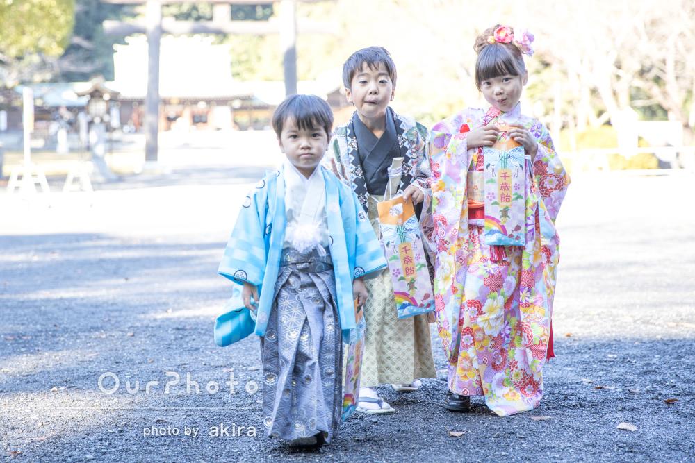 元気一杯の3姉弟で着物を着て!華やかで自然体な七五三写真の撮影