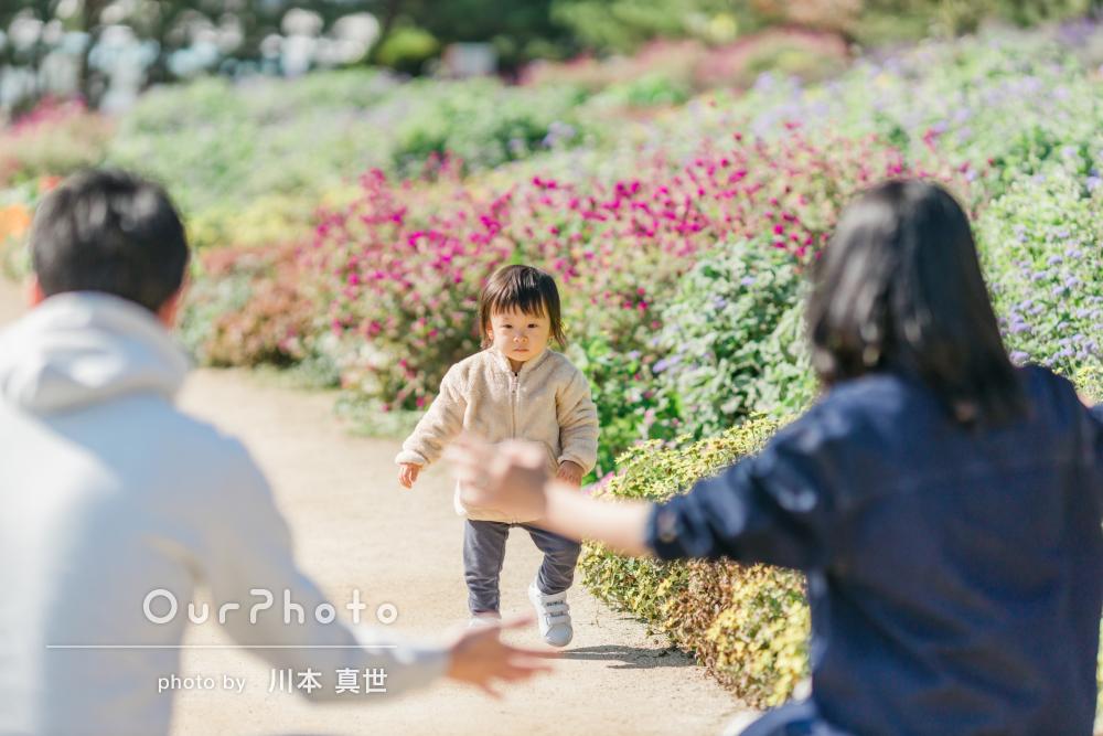 「私たちも自然に笑顔になれました」公園で楽しく家族写真の撮影