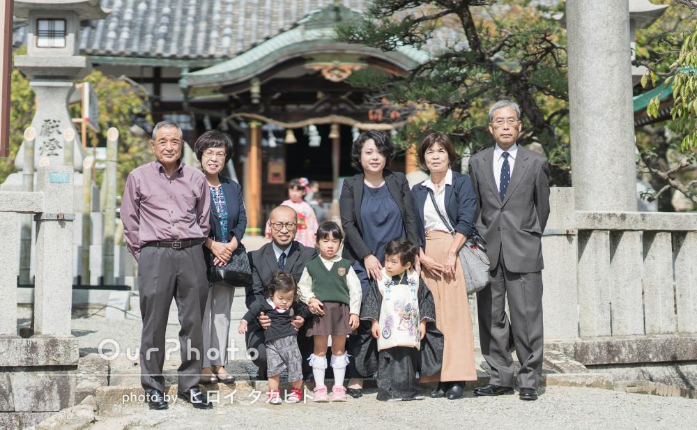 「いつもの家族の表情を自然に」凛々しい着物姿で3歳の七五三撮影