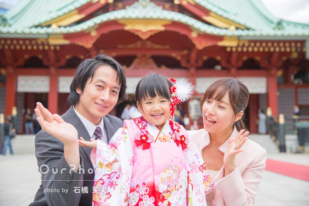 家族みんなの自然な笑顔が印象的!3歳の七五三の撮影