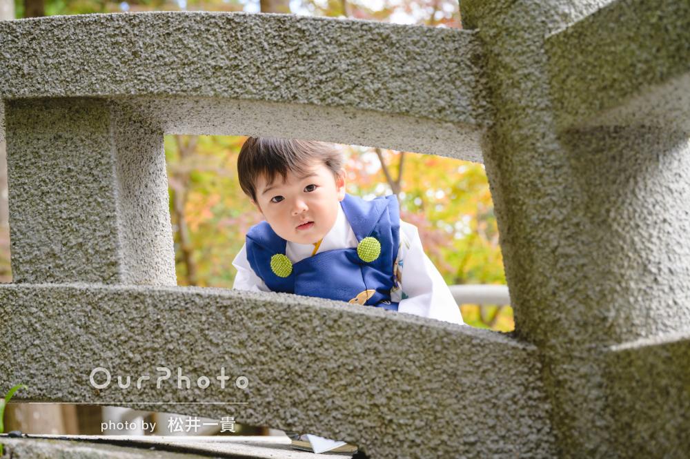 「しっかりと撮れていて嬉しかった」青色の着物で3歳七五三写真の撮影