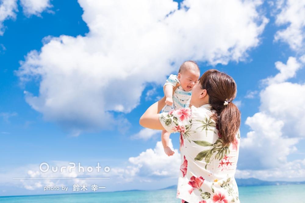 初めての沖縄旅行!綺麗な海と一緒に明るい家族写真を撮影してほしい!