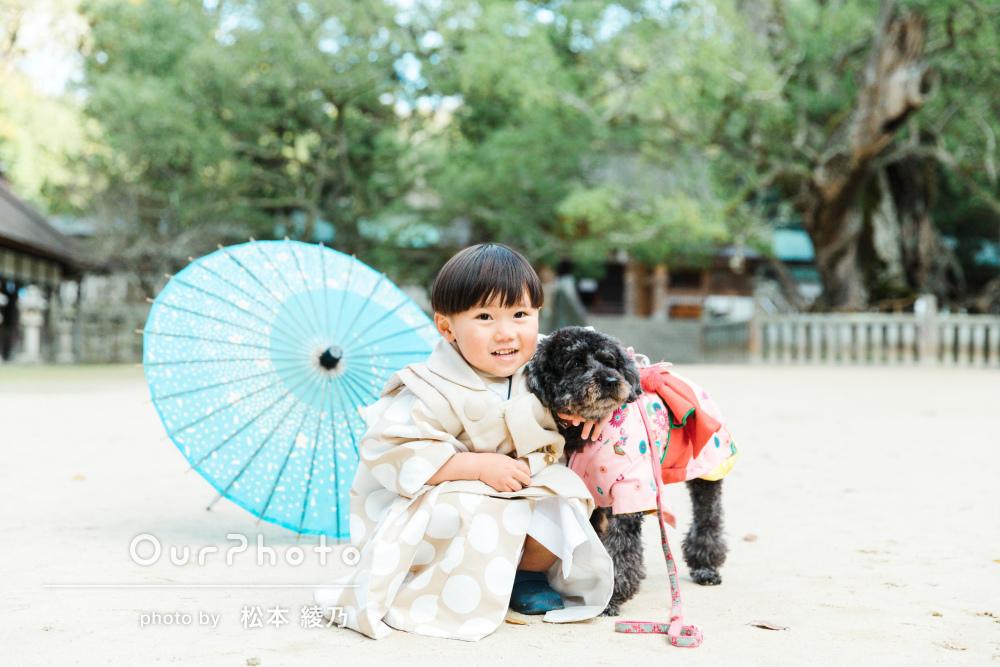 「温かみのある自然な家族の写真をいっぱい」ペットと一緒に七五三の撮影
