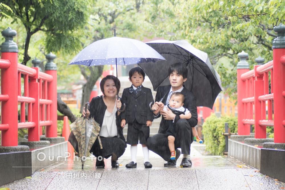 「家族一同感動」雨のなか七五三の前撮り写真の撮影
